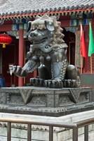 China, Beijing. Bronze lion sculpture, Fragrant Hill Fine-Art Print