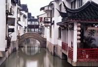 Canal Seperates White Ming Buildings, Suzhoul, Jiangsu, China Fine-Art Print