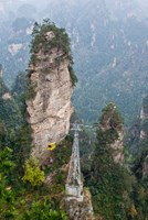 Cable Car To Yellow Stone Stronghold Village, Zhangjiajie National Forest Park, Hunnan, China Fine-Art Print