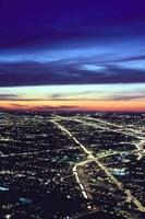 Aerial Night View of Chicago, Illinois, USA Fine-Art Print