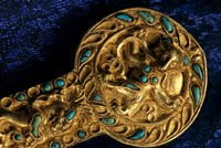 Detail of Dagger, Gold Artifacts from Tillya Tepe Find, Burial 4, Six Tombs of Bactrian Nomads Fine-Art Print