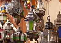 Decorative lanterns in Fes medina, Morocco Fine-Art Print