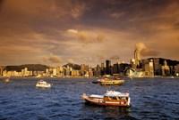 Boats in Victoria Harbor at Sunset, Hong Kong, China Fine-Art Print