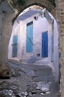 Blue Doors and Whitewashed Wall, Morocco Fine-Art Print