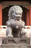 China, Beijing, Forbidden City. Bronze lion statue Fine-Art Print