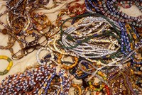 Beadmaker Displaying Samples, Asameng, Ghana Fine-Art Print