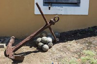 Africa, Mozambique, Maputo. Anchor and cannonballs at the Old Fort. Fine-Art Print