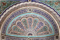 Africa, Morocco, Marrakech. Painted stucco detail at El Bahia Palace. Fine-Art Print