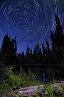 Star trails above Summit Lake in Lassen Volcanic National Park, California Fine-Art Print
