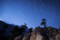 Whisps of moonlight shine through the mountain peaks of Inyo National Forest Fine-Art Print