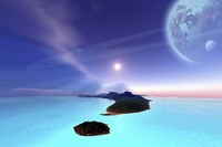 Beautiful cosmic seascape on an alien world Fine-Art Print