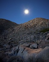 Moonlight illuminates the rugged terrain of Bow Willow Canyon, California Fine-Art Print