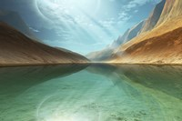 A beautiful river reflects light rays coming down from the sky Fine-Art Print