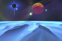 Blue Fog and Mountains on Alien Planet Fine-Art Print