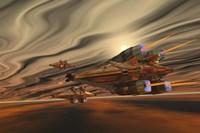 Spacecraft fly among spacial eddies in deep space Fine-Art Print
