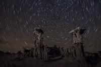Star trails above sand tufa formations at Mono Lake, California Fine-Art Print