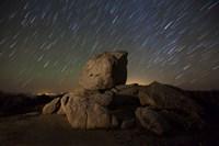 Star trails and large boulders Anza Borrego Desert State Park, California Fine-Art Print