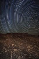 Star trails at an ancient petroglyph site near Bishop, California Fine-Art Print