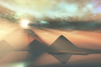 Sunrays shine down on three pyramids along the Nile River on the Giza Plateau Fine-Art Print