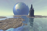 Terraforming the moon with water and buildings Fine-Art Print