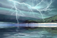 Thunderclouds and lightning move over the mountains and a nearby lake Fine-Art Print