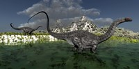 Apatosaurus dinosaurs roam the wilderness of prehistoric times Fine-Art Print