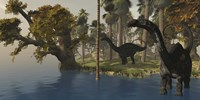 Two Apatosaurus dinosaurs visit an island in prehistoric times Fine-Art Print