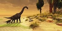 A mother Brachiosaurus Dinosaur and her offspring Fine-Art Print