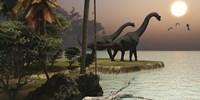 Two Brachiosaurus dinosaurs enjoy a beautiful sunset Fine-Art Print