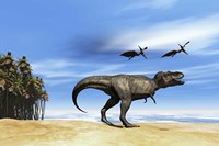 Pterodactyls fly over a beastly Tyrannosaurus Rex Fine-Art Print