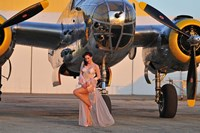 Sexy 1940's pin-up girl in lingerie posing with a B-25 bomber Fine-Art Print