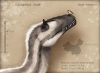 Yutyrannus huali is a feathered tyrannosauroid from the Early Cretacous of China Fine-Art Print