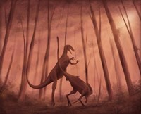 Two Bicentenaria argentina dinosaurs fighting in the woods Fine-Art Print
