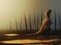 Tyrannosaurus rex sunbathing after the rain Fine-Art Print