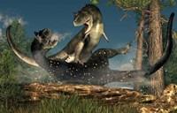 A couple of Carnotaurus dinosaurs fighting Fine-Art Print