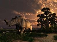 A Megacerops grazing a prehistoric landscape Fine-Art Print