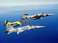 Three F-5E Tiger II fighter aircraft in flight Fine-Art Print