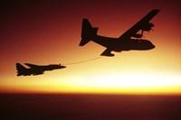 US Navy F-14A Tomcat aerial refueling from a KC-130 Hercules Fine-Art Print