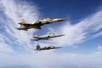 An F-5F Tiger II leads two F-5E's during a training flight Fine-Art Print
