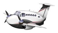 Cartoon illustration of a Beechcraft King Air Fine-Art Print