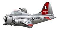 Cartoon illustration of a Boeing B-17 Flying Fortress Fine-Art Print