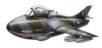 Cartoon illustration of a Royal Air Force Hawker Hunter F6 Fine-Art Print