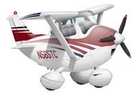Cartoon illustration of a Cessna 182 aeroplane Fine-Art Print