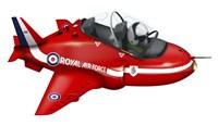 Cartoon illustration of a Royal Air Force Red Arrows Hawk airplane Fine-Art Print