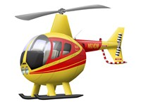 Cartoon illustration of a Robinson R44 Raven helicopter Fine-Art Print