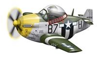 Cartoon illustration of a P-51 Mustang Fine-Art Print