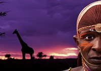Maasai Warrior with Sunset on the Serengeti, Kenya Fine-Art Print