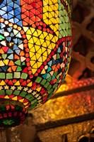 Lamp in antique shop, Marrakech, Morocco Fine-Art Print