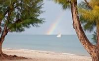 Madagascar, Mahajunga. Fishing dhow and rainbow Fine-Art Print