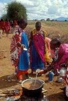 Maasai Women Cooking for Wedding Feast, Amboseli, Kenya Fine-Art Print